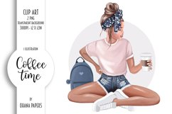 Coffee Fashion Girl Clipart, Planner Graphics Supplies Product Image 1