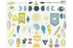 Hand drawn tribal elements - arrow feather crystal clipart Product Image 2