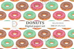 Donuts Digital Papers  12 x 12 inches 300DPI JPG files Product Image 5