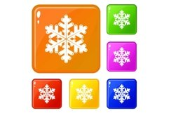 Snowflake icons set vector color Product Image 1