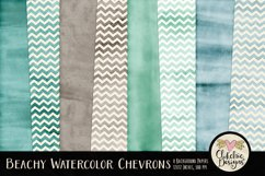 Beachy Watercolor Chevron Background Textures Product Image 1