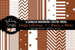 16 seamless Digital Papers - Brown and White- HC153 Product Image 1