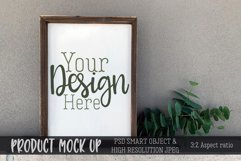 Wood frame sign on concrete Craft mock up | PSD & JPEG Product Image 1