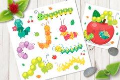 Cartoon caterpillar vector cute set Product Image 1
