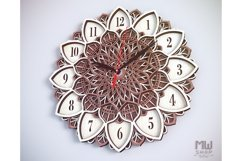 C08 - Laser Cut Wall Clock DXF, Mandala Clock, Wooden Clock Product Image 2