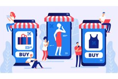 Online shopping concept. Boy and girl, vector buyers with la Product Image 1