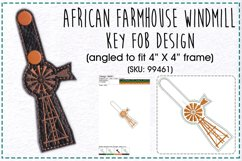 African Farmhouse Windmill Key Fob Embroidery Design Product Image 1