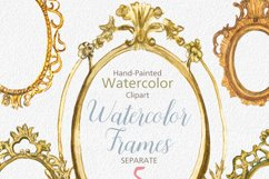 ON SALE, Hand Painted Golden Watercolor Frames Clipart Product Image 2