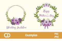 4 Floral Wreath Elements in shades of Purple Product Image 2