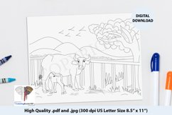 The Mother Buffalo Feeding Her Baby Calf Coloring Page Product Image 1