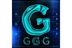 G Letter Vector. Capital Digit. Roentgen X-ray Font Light Product Image 1