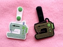 ITH Sewing Machine Vinyl Key Fob or Bag Tag - Snap Tab Machine Embroidery Product Image 3