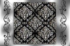 Seamless Damask Wallpaper. Black and white digital paper. Product Image 2