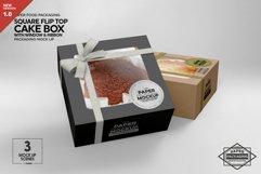 Square Flip Top Cake Box Packaging Mockup Product Image 1