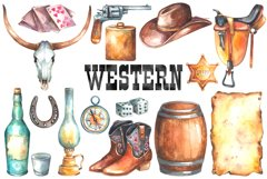 Watercolor Western Clipart Product Image 2