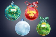 Watercolor Christmas ball clipart Product Image 3