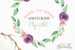Watercolor Antler Flower Wreath Floral Clipart Set Product Image 4