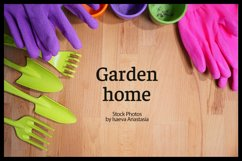 Wood background with garden tools Product Image 1