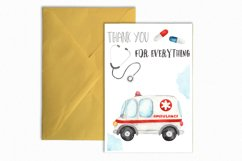 Watercolor Ambulance. Clipart, cards, seamless patterns Product Image 10