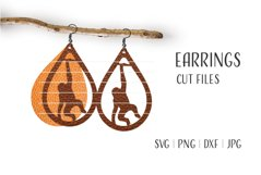Monkey Earrings Svg / Leather / Faux / Wood / Cut Product Image 1