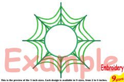 Spider Web Circle Embroidery Design Machine Instant Download Commercial Use digital Outline Frame Halloween Spiderweb 208b Product Image 3
