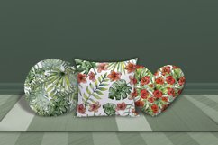 Watercolor tropical leaves & flowers seamless pattern. Product Image 2