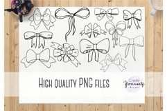 Handdrawn bow clipart set - doodle ribbon clipart Product Image 3