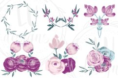 Burgundy and Pink Flowers Clipart, Floral Wedding Bouquets Product Image 4