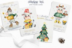 Christmas bull Watercolor Clipart Product Image 9