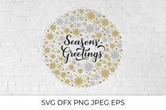Season's Greetings calligraphy. Gold and silver snowflake Product Image 1