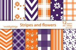 Purple and orange chevron, flowers, stripes seamless pattern Product Image 1