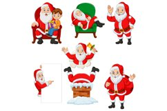 Set of Seven Cartoon Santa Claus Product Image 1
