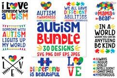 Autism SVG Bundle, 30 Designs, DXF PNG Cricut Cutting Files Product Image 1