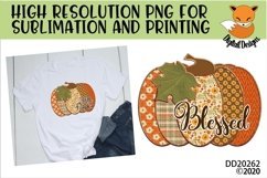 Patchwork Blessed Pumpkin Fall Sublimation Design Product Image 1