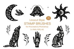 Linocut Style Stamp Brushes for Procreate and Photoshop Product Image 1
