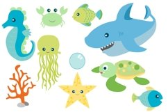 Sea Animal Clipart and Digital Papers Set Product Image 3