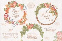 Watercolor wreaths set. Roses & keys Product Image 3