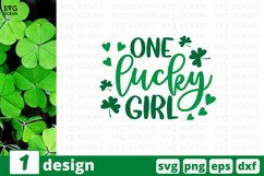 One Lucky Girl SVG Cut File | St Patricks Day Cricut Product Image 1