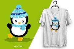 Baby Penguin Blue Scarf T-Shirt Design | Sublimation T-Shirt Product Image 4