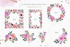 Blush pink floral Frame Frames Borders PNG Rose Gold Clipart Product Image 4