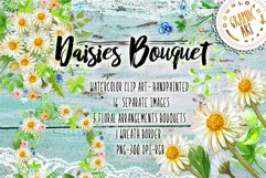 Daisies Bouquet Watercolor Clipart  Product Image 1