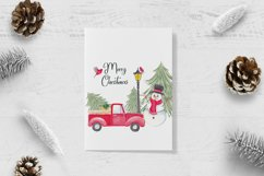 Farm fresh christmas trees, Red old car, Snowman clipart Product Image 5