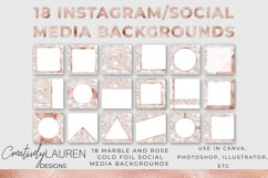 Veined Marble and Rose Gold Foil Instagram Template Product Image 1