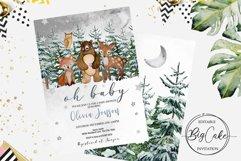 Woodland Baby Shower Invitation Winter Editable Product Image 2