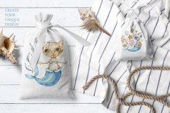 Watercolor Cat Mermaid clipart. Seashells marine clip art. Product Image 4