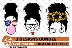 Messy Bun Designs Bundle svg, American Flag, Sunflower, Sub Product Image 1