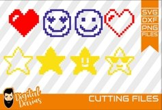 8x Pixels Icon SVG, Heart svg, Stars svg, Cuttable Design Product Image 1