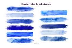 Indigo brush strokes clipart, blue watercolor PNG elements Product Image 2