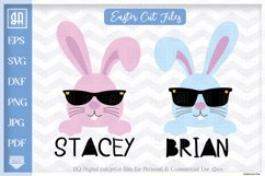 Bunny face bundle svg, Cool Easter bunny with sunglasses svg Product Image 1