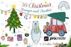 50 Procreate Christmas Stamps and Brushes Product Image 1